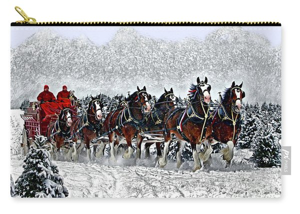 Clydesdales Hitch In Snow Carry-all Pouch