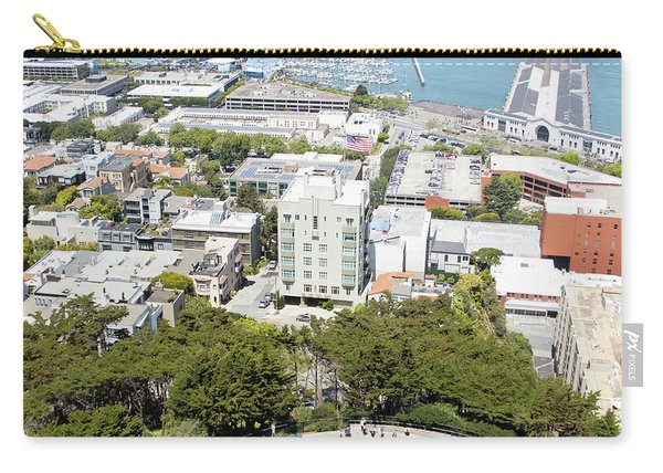 Coit Tower Parking Circle Overlooking The Embarcadero Pier 39 And Alcatraz San Francisco R603 Sq Carry-all Pouch