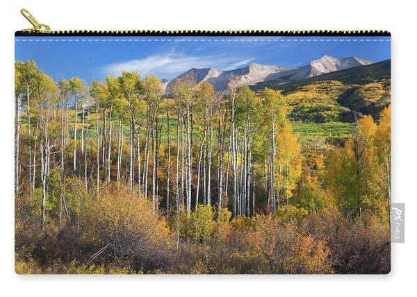 Carry-all Pouch featuring the photograph Colorado Autumn Aspens by John De Bord