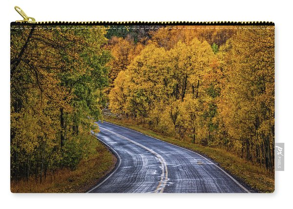 Carry-all Pouch featuring the photograph Colorado Fall Country Road by John De Bord
