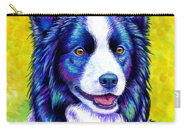 Colorful Border Collie Dog Carry-all Pouch