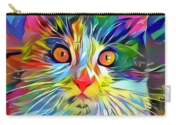 Carry-all Pouch featuring the digital art Colorful Calico Cat by Don Northup