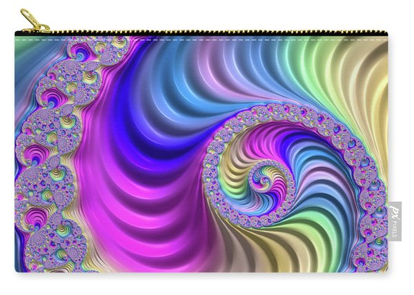 Colorful Fractal Spiral With Stripes Carry-all Pouch