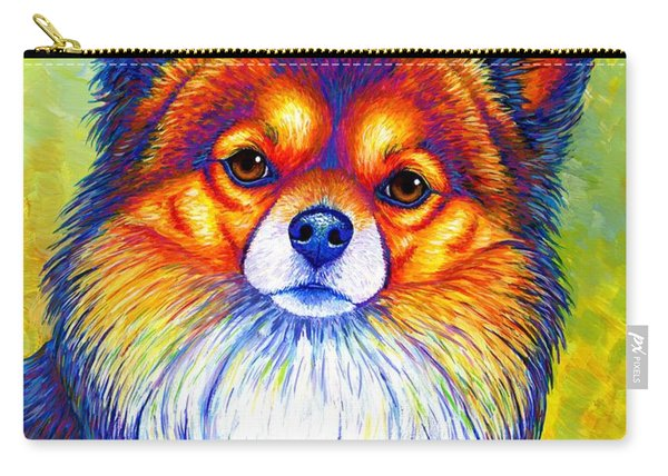 Colorful Long Haired Chihuahua Dog Carry-all Pouch