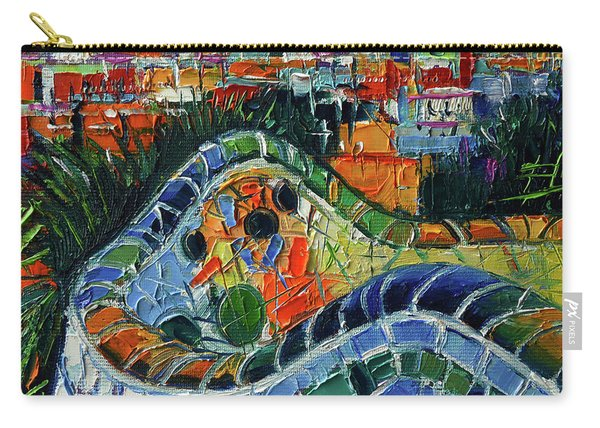 Colorful Mosaic Park Guell Barcelona Impasto Palette Knife Stylized Cityscape Carry-all Pouch