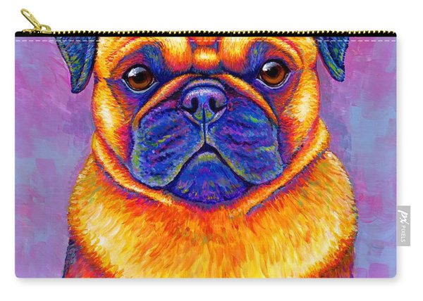 Colorful Rainbow Pug Dog Portrait Carry-all Pouch