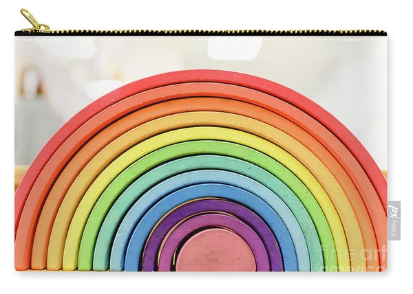 Colorful Waldorf Wooden Rainbow In A Montessori Teaching Pedagogy Classroom. Carry-all Pouch