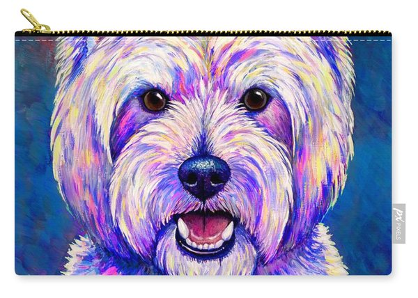 Colorful West Highland White Terrier Blue Background Carry-all Pouch