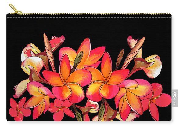 Coloured Frangipani Black Bkgd Carry-all Pouch