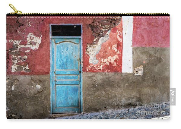 Colorful Wall With Blue Door Carry-all Pouch
