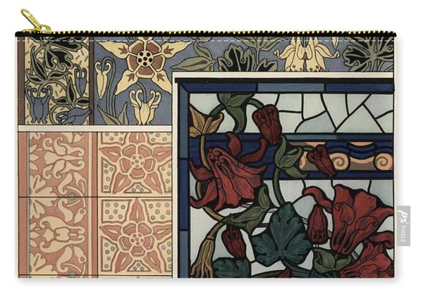 Columbine, Aquilegia Vulgaris, Flower In Patterns For Wallpaper, Stained Glass And Tiles. Carry-all Pouch