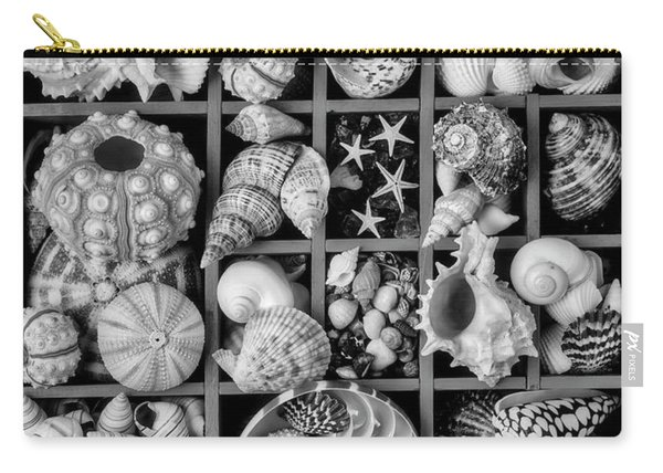 Compartments Full Of Seashells In Black And White Carry-all Pouch