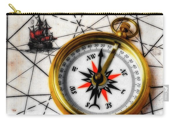 Compass On Old Ship Map Carry-all Pouch