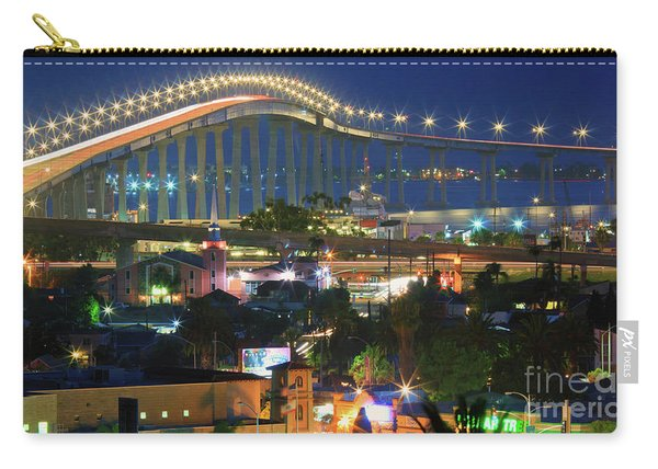 Carry-all Pouch featuring the photograph Coronado Bay Bridge Shines Brightly As An Iconic San Diego Landmark by Sam Antonio Photography