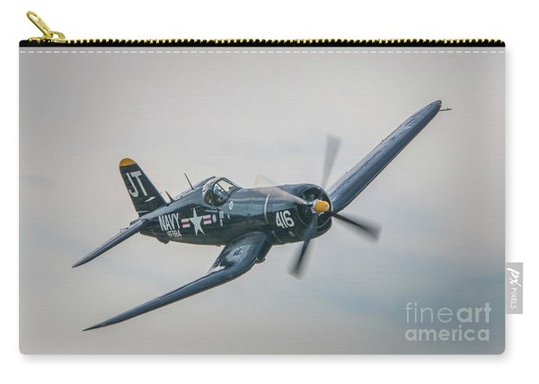 Carry-all Pouch featuring the photograph Corsair Approach by Tom Claud
