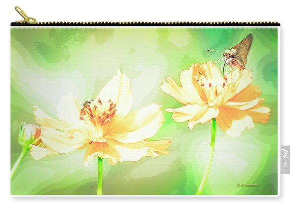Cosmos Flowers, Bud, Butterfly, Digital Painting Carry-all Pouch