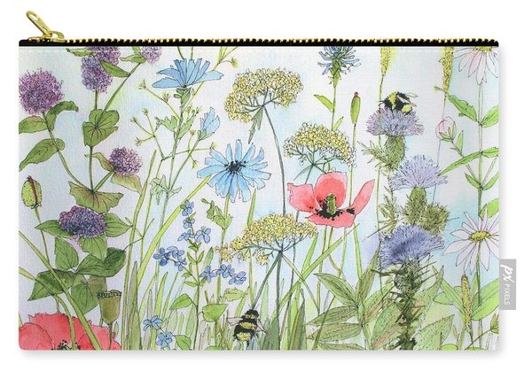 Cottage Flowers And Bees Carry-all Pouch