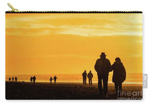 Couples Walking Along The Beach At Sunset Carry-all Pouch