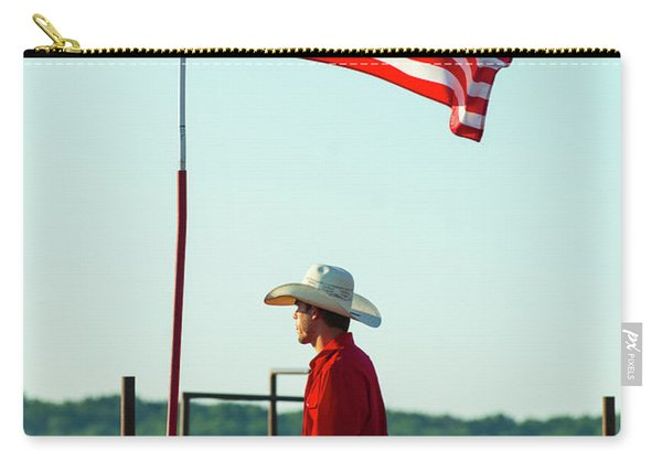 Carry-all Pouch featuring the photograph Cowboy And American Flag by Dennis Dame