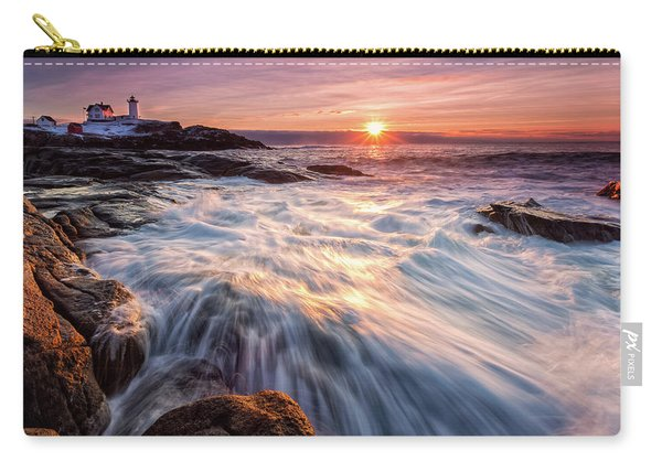 Carry-all Pouch featuring the photograph Crashing Waves At Sunrise, Nubble Light.  by Jeff Sinon