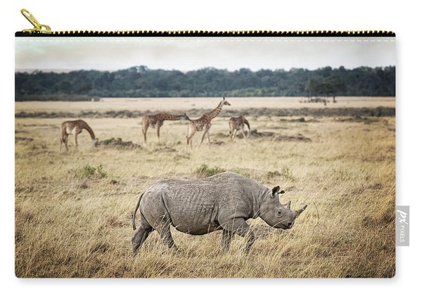 Critically Endangered Black Rhino And Giraffe In Kenya Carry-all Pouch