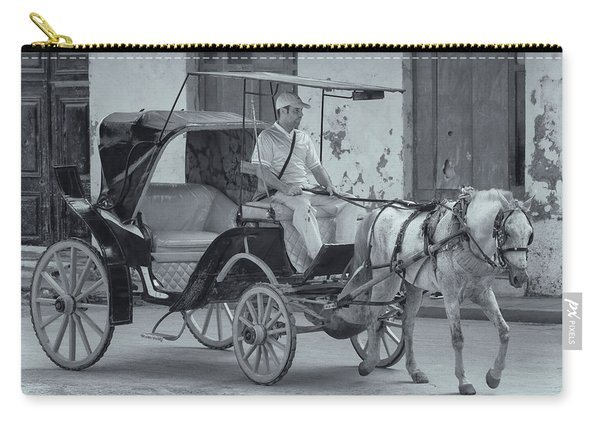 Carry-all Pouch featuring the photograph Cuban Horse Taxi by Tom Singleton