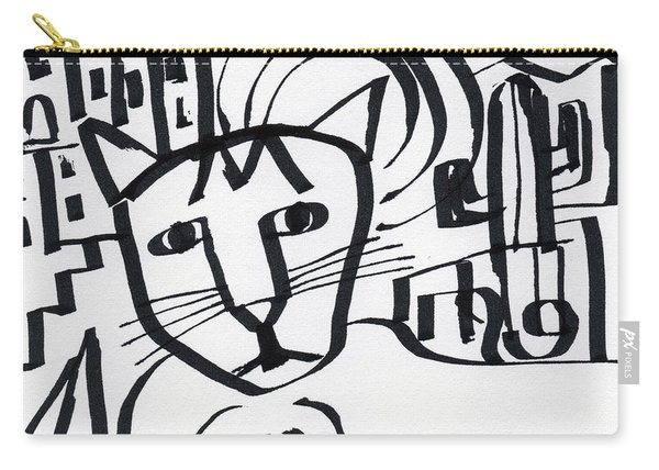 Curious Cat -art By Linda Woods Carry-all Pouch