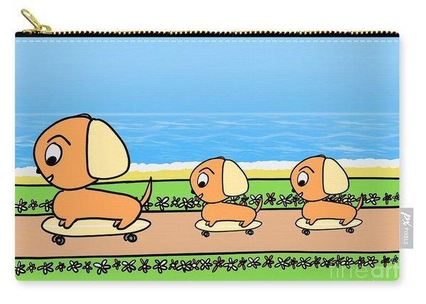 Cute Cartoon Dogs On Skateboards By The Beach Carry-all Pouch