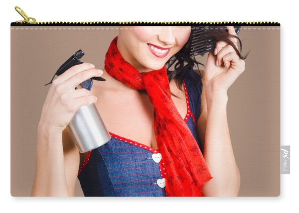 Cute Girl Model Styling A Hairdo. Pinup Your Hair Carry-all Pouch