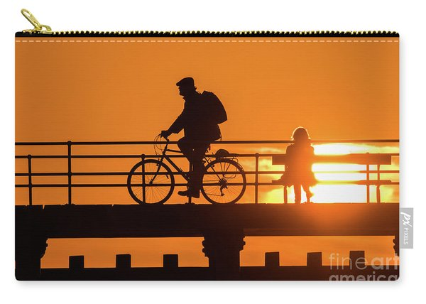 Cyclist Silhouetted At Sunset Carry-all Pouch