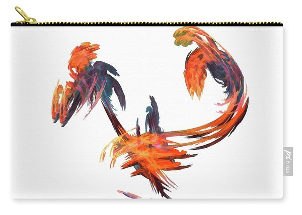 Carry-all Pouch featuring the digital art Dance Of The Birds Orange by Don Northup