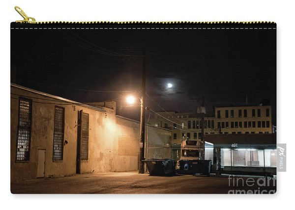 Dark Chicago City Alley At Night With The Moon Carry-all Pouch