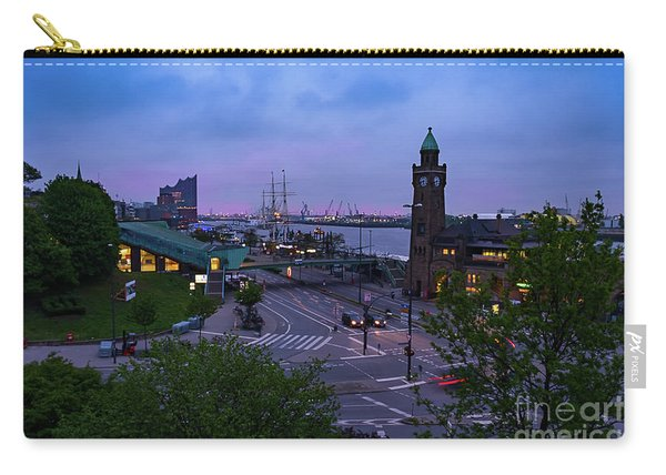 Dawn Over The Port And City Hamburg Panorama Carry-all Pouch