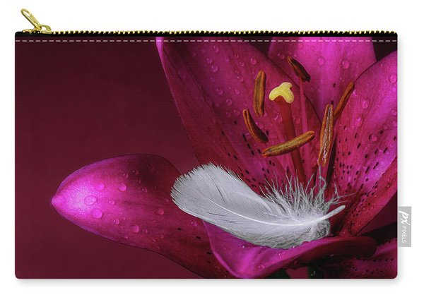 Daylily With Feather Carry-all Pouch