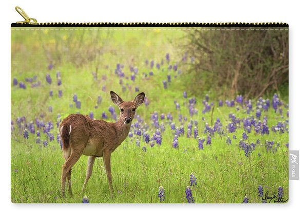 Deer In The Bluebonnets Carry-all Pouch