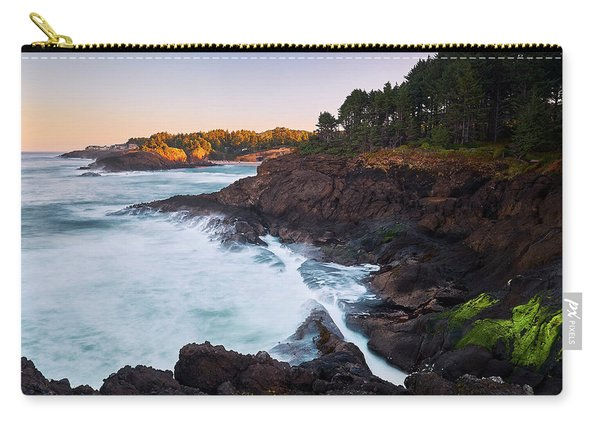 Carry-all Pouch featuring the photograph Depoe Bay Sunrise by Whitney Goodey