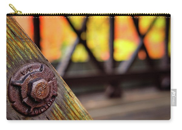 Carry-all Pouch featuring the photograph Details On A Covered Bridge by Jeff Sinon
