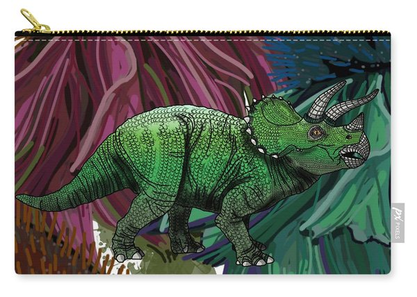 Dinosaur Triceratops Flowers Carry-all Pouch