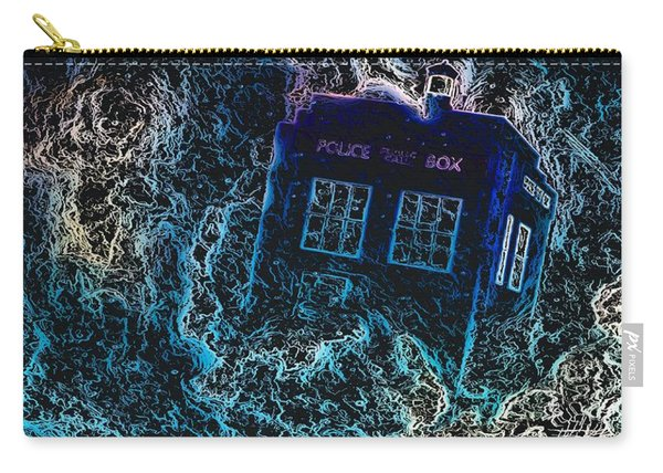 Carry-all Pouch featuring the mixed media Doctor Who Tardis 3 by Al Matra
