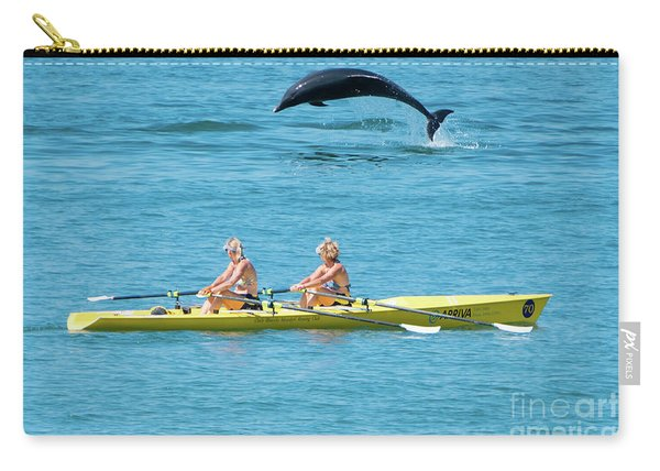 Dolphin Leaping Over Two Rowers Carry-all Pouch
