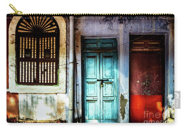 Doors Of India - Blue Door And Red Door Carry-all Pouch