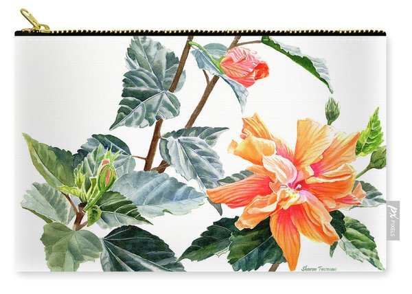 Double Orange Hibiscus With Buds Carry-all Pouch