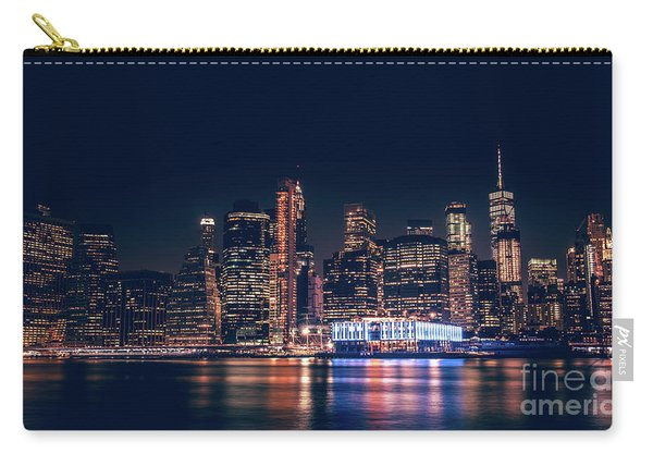 Carry-all Pouch featuring the photograph Downtown At Night by Dheeraj Mutha