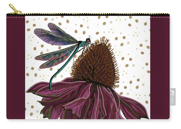 Dragon Fly And Echinacea Flower Carry-all Pouch