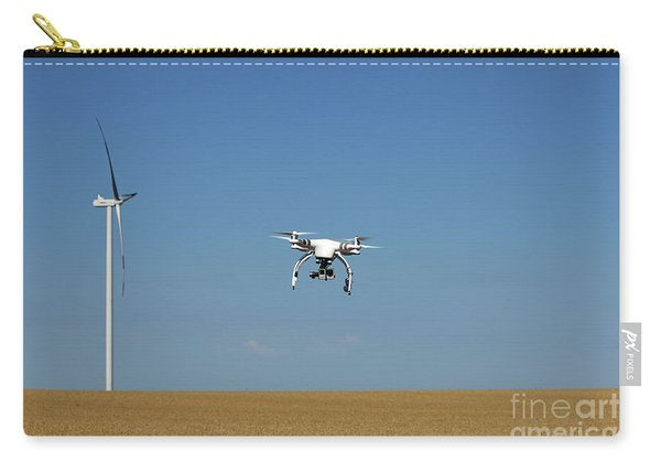 Drone Flying Over Wheat Field With Wind Turbine Carry-all Pouch