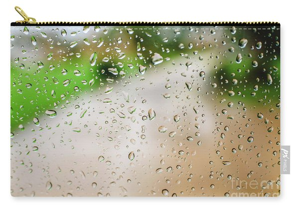 Drops Of Rain On An Autumn Day On A Glass. Carry-all Pouch