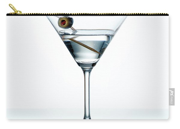 Dry Martini With Green Olive In Cocktail Glass Over White Backgr Carry-all Pouch