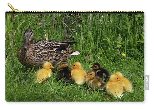 Duck And Cute Little Ducklings Carry-all Pouch