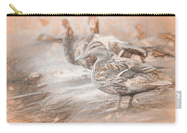 Carry-all Pouch featuring the photograph Ducks On Shore Da Vinci by Don Northup