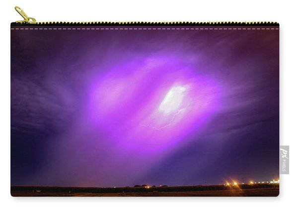 Carry-all Pouch featuring the photograph Dying Late Night Supercell 016 by NebraskaSC